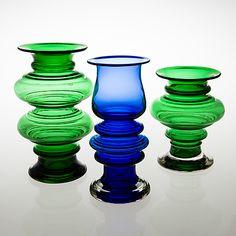 "TAMARA ALADIN - Glass vases ""Tornado"" designed 1970 for Riihimäen Lasi Oy, in production Finland. - Green model height 28 cm, in production Blue model height cm, in production Green model height 21 cm. Glass Design, Design Art, Lassi, Bukowski, Aladdin, Modern Contemporary, Home Accessories, Glass Art, Retro Vintage"