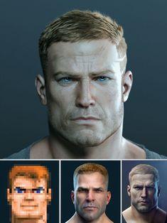 "Wolfenstein: The New Order main character ""BJ Blazkowicz"": Face Men, Male Face, Bioshock, Wolfenstein The New Order, Wolfenstein 3d, Walt Disney, Concept Art World, Arte Obscura, Steampunk City"