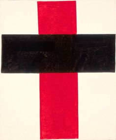 Kazimir Malevich, Hieratic Suprematist Cross (large cross in black over red on white), oil on canvas, 84 x cm, Collection Stedelijk Museum Amsterdam. Abstract Expressionism, Abstract Art, Abstract Paintings, Kazimir Malevich, Amsterdam, Black And White Abstract, Art Abstrait, Op Art, Art Google