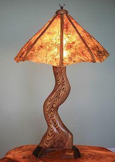 "Table Lamp, Zebra Wood, ""Original Leaf Shade"" by Wood-Junkie"