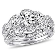 Zales 1/4 CT. T.w. Diamond Three Stone Frame Twist Bridal Set in Sterling Silver cD6X5DiAtA