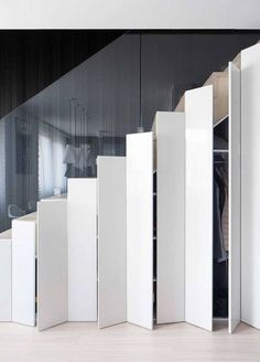 Staircase Storage - Apartment by Widawscy Studio Architektury Staircase Storage, Stair Storage, Hidden Storage, Extra Storage, Modern Staircase, Staircase Design, Staircase Ideas, Space Under Stairs, Stair Gallery