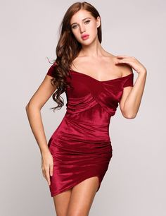 Velvet Off The Shoulder Plunge Bodycon Solid Wrap Party Dress