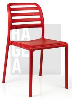 Krzesło ogrodowe z polipropylenu wzmocnionego włóknem szklanym Nardi Costa Bistrot czerwone Home Garden Art