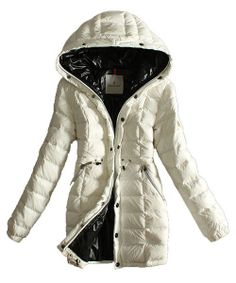 Moncler Coats Women Breasted Pure Color White! Only $265.9USD