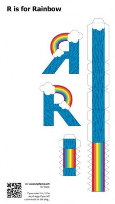 Blog_Paper_Toy_papercraft_Alphabet_R_Rainbow_template_preview