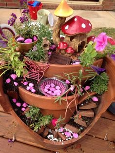 How to Make a Broken Clay Pot Fairy Garden  Broken flower pots today can be made into charming home decor, fairy gardens! Make one to entrance your children and guests who come to visit.