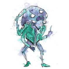 surreal rowdy-monster-illustration by glönn. splashy watercolor creature with beer, cigarette and leather jacket.