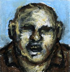 © Peter Booth ~ Drawing 2011 (head, blue background) ~ 2011 mixed media on paper at Olsen Irwin Gallery Sydney Australia