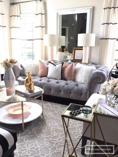 Glam living room decor how one couch inspired a living room transformation farmhouse glam living room Glam Living Room, Home And Living, Living Room Furniture, Feminine Living Rooms, Blush And Grey Living Room, Living Room Decor Grey Couch, Cozy Living, Living Room Curtains, Grey Sofa Decor