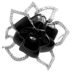 Chanel Camelia Camellia Flower Diamond Onyx White Gold Pin Brooch