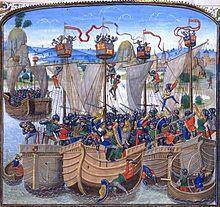 La flotte anglaise est détruite à La Rochelle .- Le roi de Castille et sa flotte allié à Charles V  intercepte le corps expéditionnaire anglais à La Rochelle le 22 juin 1372 et l'anéantit le 23, usant de canons et de brulôts dérivants (il a attendu la marée basse pour que ses navires à faible tirant d'eau aient un avantage sur les lourds bâtiments anglais génés à la manoeuvre par les hauts fonds sablonneux rochelais. C'est un désastre pour l'Angleterre, qui perd la maîtrise des mers.