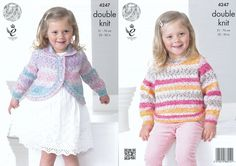 King Cole Double Knitting Pattern - Girls Curved Cardigan & Sweater (4247) - Mill Outlets