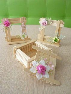 delicadas caixinhas feitas de artesanato com palito de picolé #artesanato #palitodepicole #diy