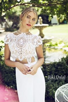 This stunning two piece is perfect for beach or summer weddings or a second dress to change into for dancing.Hand made in Israel by Haute Couture designer Riki Dalal available in Dress Dreams in Sevenoaks, Kent,UK.for more info contact www.dressdreams.co.uk info@dressdreams.co.uk or +44 (0)1732 667377. 25 minutes from London Bridge, just off M25 jct 5 with free parking