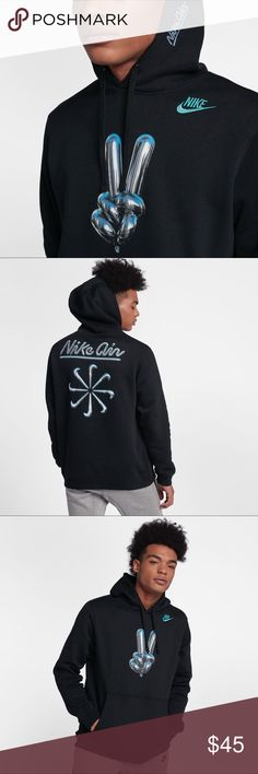 MENS NIKE AIR GRAPHIC HOODIE | NEW | AO8047-010 ☑️ Item is brand with tags.        ✔️ New release from NIKE, still on there site for retail! ☑️ Will ship out within 24 hours.  ❌ No transactions outside of Posh  🔘 All my inventory in posh comes from my eBay store page, (cross listed) so prices are competitive with that platform as well.  🔘 Stores.ebay.com/premiumlacesthreads Nike Jackets & Coats