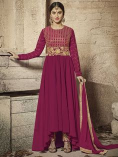 Krystle d'souza maroon anarkali suit online which is crafted from faux georgette fabric with exclusive zari embroidery. This stunning designer anarkali suit comes with santoon bottom and nazneen dupatta.