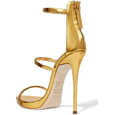 Giuseppe Zanotti Harmony metallic leather sandals ($845) ❤ liked on Polyvore featuring shoes, sandals, stiletto sandals, thin-strap sandals, high heel stilettos, platform sandals and strap sandals