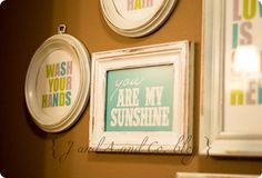 green and blue bathroom printables + thrift store frames! DOING THIS!
