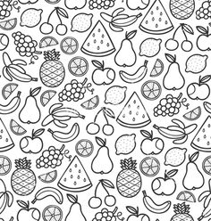 Fruits doodle pattern in black vector art - Download vectors - 1476790