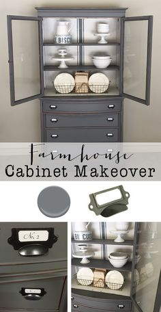 Farmhouse cabinet makeover - House of Hargrove.  Get all the details on this transformation....paint color, hardware, etc.