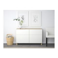 IKEA - BESTÅ, Storage combination w doors/drawers, white stained oak effect/Selsviken high-gloss/white, drawer runner, push-open, , The drawers and doors have integrated push-openers, so you don't need handles or knobs and can open them with just a light push.The legs raise your BESTÅ combination from the floor, giving it a light airy look and making it easy to clean the floor underneath.The two drawers make it easy to keep your belongings organised. The shelves behind the doors give you…