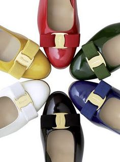 Salvatore Ferragamo Elea Colorblock Vara Bow Leather Ballet Flats
