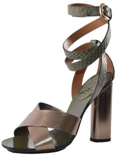 NEW Gucci Women's Green Pewter Python Snakeskin Candy Sandals Shoes 37 7 #Gucci…