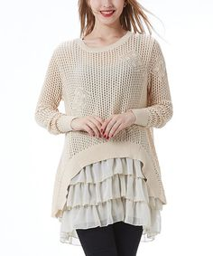Another great find on #zulily! Beige Crochet Tiered-Ruffle Tunic by Simply Couture #zulilyfinds
