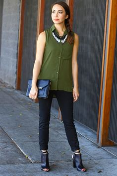 Love how the black makes that shade of green pop. And the statement necklace is very @Emma Approved