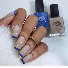 63 Ideas For Nails Art French Manicure Ongles Shellac Nails, Manicure And Pedicure, French Nails, French Manicures, Nagel Hacks, French Nail Designs, Nagel Gel, Blue Nails, Long Nails