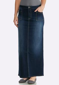 07434996718 Cato Fashions Plus Size Dark Denim Maxi Skirt  CatoFashions Cato Fashion  Plus Size