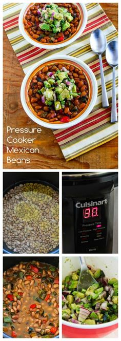 These Pressure Cooker Mexican Beans with Avocado-Poblano Salsa are amazingly delicious.  This recipe is quick, frugal, and vegan, or perfect for a Meatless Monday dish.