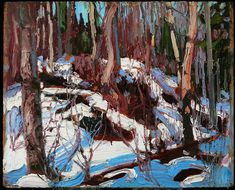 Tom Thomson - Art Nouveau, Arts&Crafts & Post Impressionnism -  'Winter Thaw in the Woods' 1917