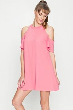 Sweetest Cold Shoulder Dress **Fast Free Shipping!**