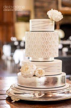 Featured Cake: De la Creme Studio; Glamorously unique silver detailed wedding cake