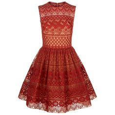 Elie Saab Fit and Flare Lace Dress ($4,260) ❤ liked on Polyvore featuring dresses, red lace dress, red floral dress, lace dress, fit and flare cocktail dress and red full skirt