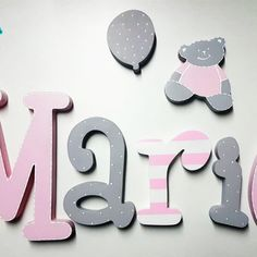 Baby Name Letters, Wood Letters, Baby Bedroom, Baby Room Decor, Name Signs, Baby Boy Shower, Baby Names, Ideas Para, Decoupage