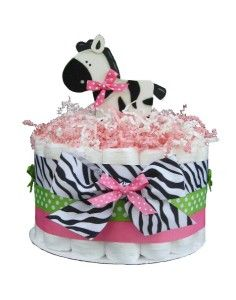 Zebra Centerpieces for Baby Showers   Tier Sassy Zebra Girl Baby Shower Diaper Cake Auctions - Buy And ...
