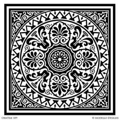 Tile Stencils for Custom Painted Floor, Walls, Ceiling – Modello® Designs Painting Tile Floors, Faux Painting, Stencil Painting, Tile Stencils, Stenciling, Custom Stencils, Stencil Designs, Tile Patterns, Textures Patterns