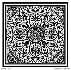 Tile Stencils for Custom Painted Floor, Walls, Ceiling – Modello® Designs Painting Tile Floors, Faux Painting, Stencil Painting, Tile Stencils, Stenciling, Stencil Patterns, Stencil Designs, Tile Patterns, Motif Oriental