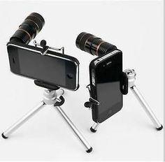 8x Optical Zoom Telescope Camera Lens Tripod Back Case for iPhone 4