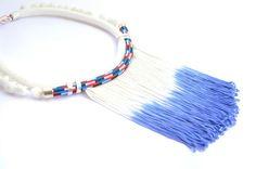 short rope tie dye blue white fringe pompom by PROPSfashion, €38.00