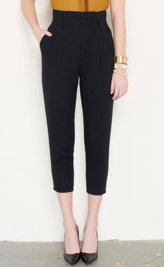 High waisted trousers.