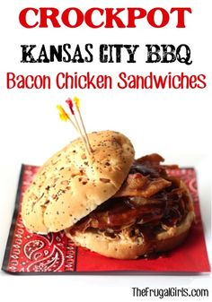 Crockpot Kansas City BBQ Bacon Chicken Sandwiches Recipe from TheFrugalGirls.com