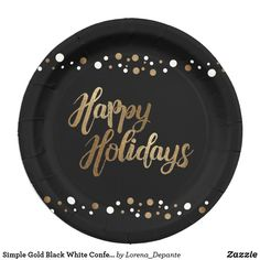 Shop Simple Gold Black White Confetti Holiday Party Paper Plate created by Lorena_Depante. Personalize it with photos & text or purchase as is! Christmas Paper Plates, Gold Christmas, Party Plates, Party Tableware, Cute Home Decor, Holiday Festival, White Elephant Gifts, Holiday Parties, Biodegradable Products