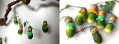 acorn dolls 03 DIY : how to make these cute acorn dolls in mini decoration 2 with green men acorn Autumn Crafts, Nature Crafts, Fun Crafts For Kids, Art For Kids, Acorn Crafts, Waldorf Crafts, Little Acorns, Autumn Activities, Deco Table