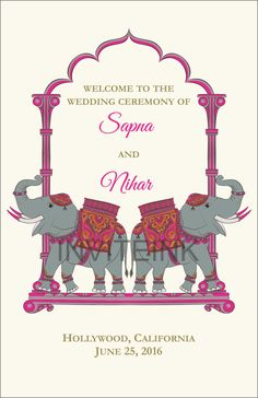 Indian Wedding Program Elephants Weddings