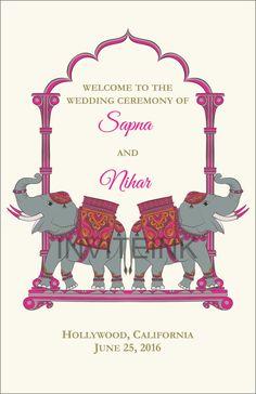 Indian Wedding Program, Elephants, Indian Weddings