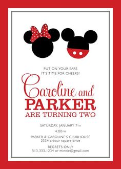 Resultado de imagen para minnie and mickey birthday invitation